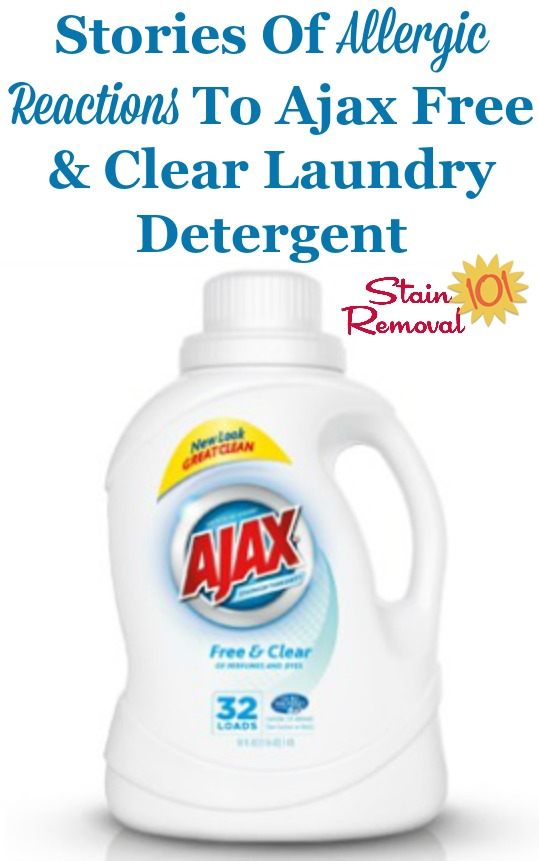Stories of allergic reactions to Ajax Free and Clear laundry detergent, as shared by readers {on Stain Removal 101} #AjaxLaundryDetergent #FreeAndClearDetergent #HypoallergenicLaundryDetergent