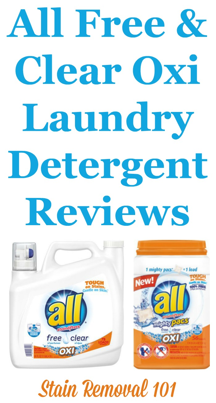 All Free and Clear Oxi laundry detergent reviews from readers. Many readers have reported that this supposedly hypoallergenic detergent causes allergic reactions, presumably from the addition of the oxi ingredient added to help with stain removal. Here are the reviewers stories and experiences with this laundry product {on Stain Removal 101}