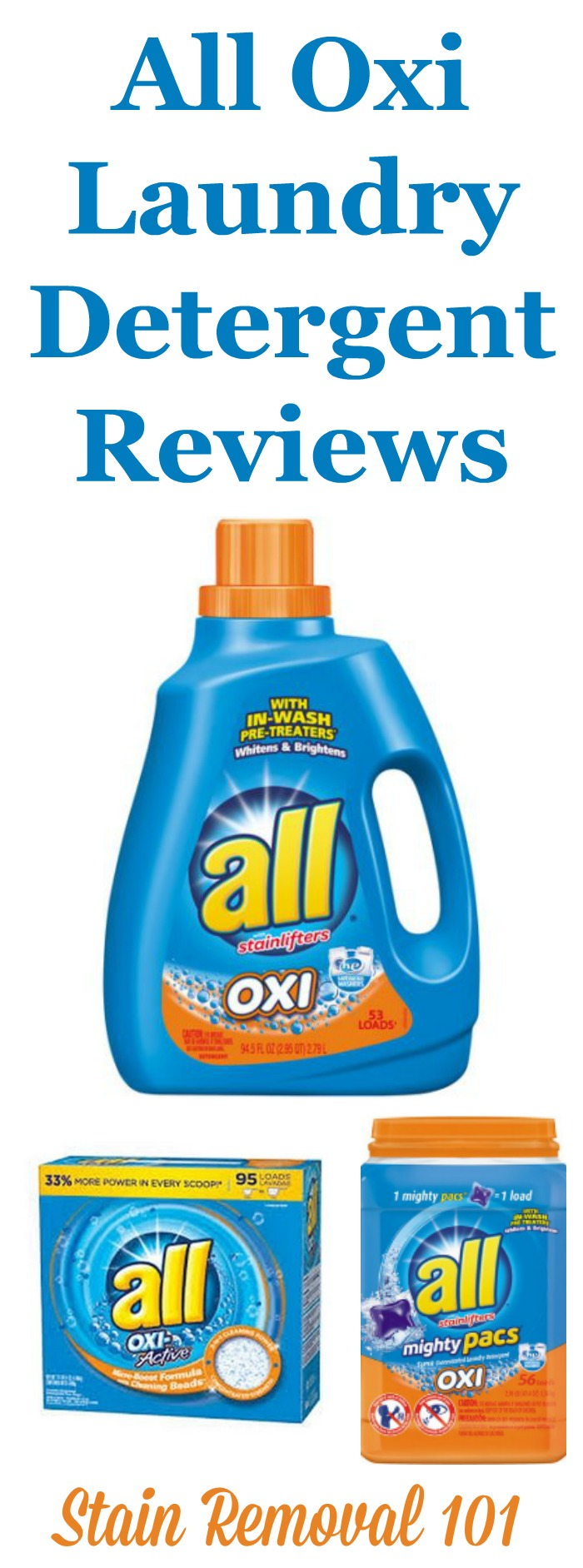 Reviews of All-Oxi laundry detergent, with multiple reports of allergic reactions to the oxygen bleach product within this product. {on Stain Removal 101}
