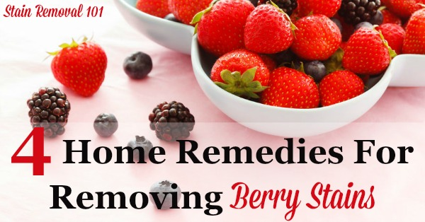 4 home remedies for removing berry stains from clothes {on Stain Removal 101} #StainRemoval #RemovingStains #RemoveStains