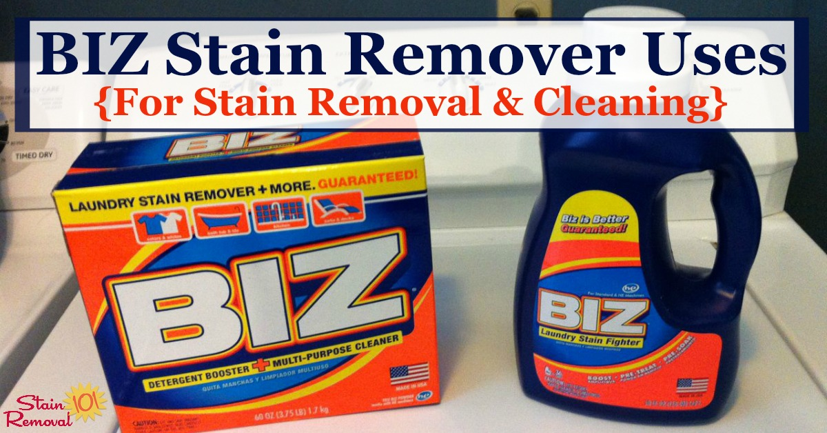 Biz stain remover reviews and uses for laundry, stain removal and cleaning, including discussion of what stains it works best on and comparisons of the powder versus the liquid versions {on Stain Removal 101}