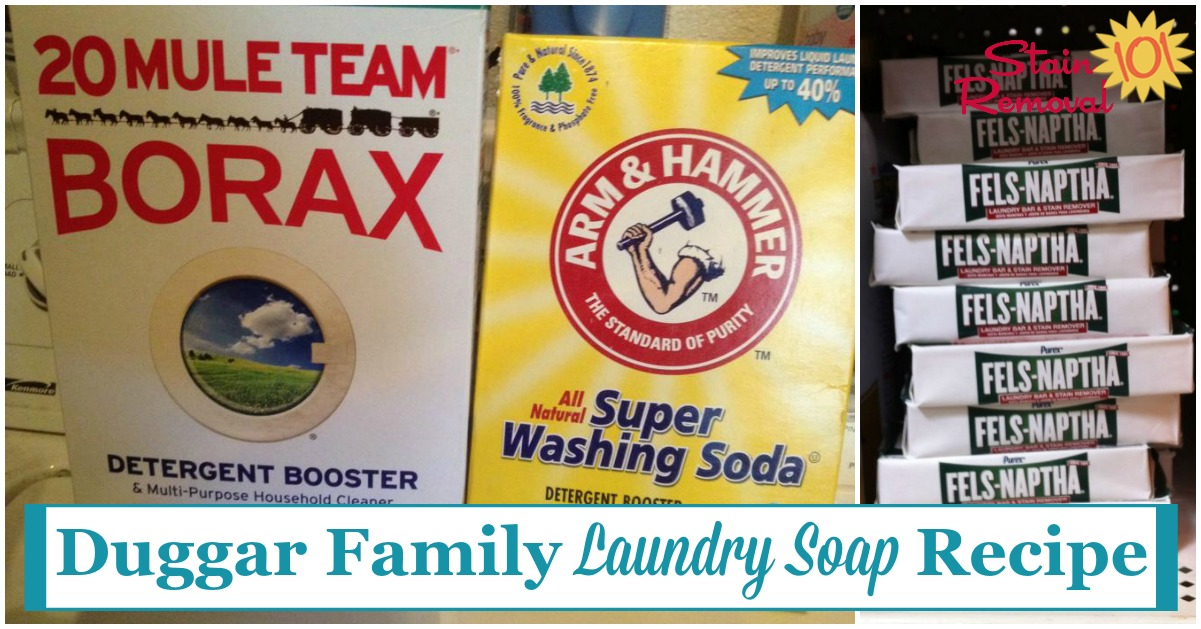 Duggar family laundry soap recipe {on Stain Removal 101}