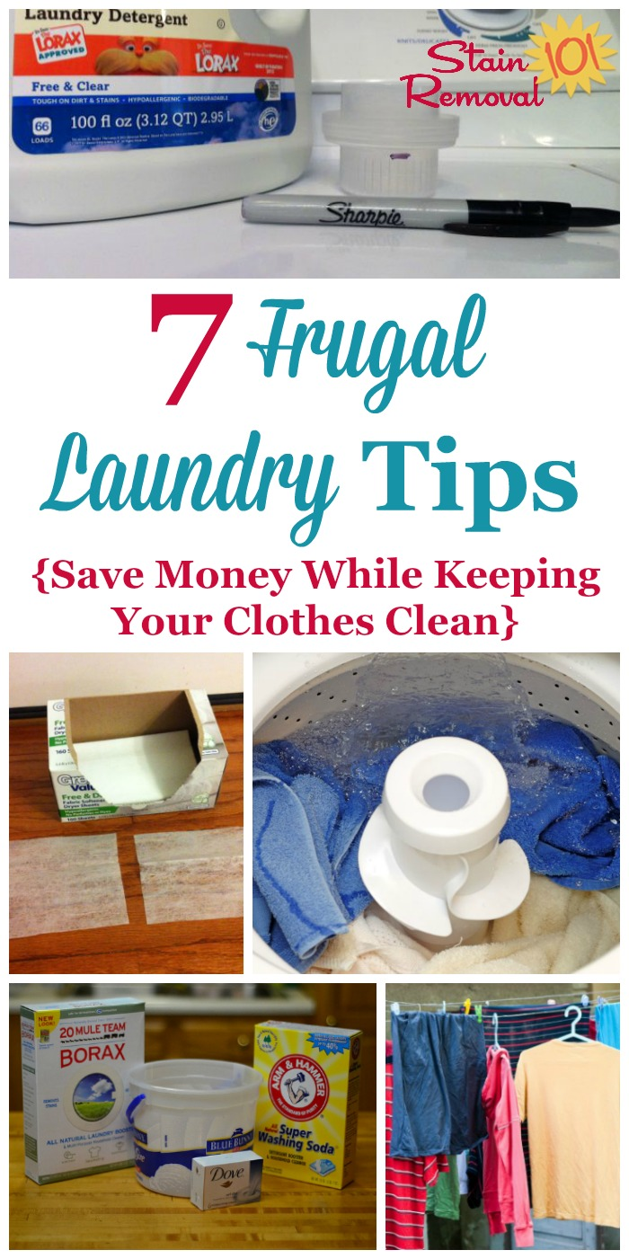7 frugal laundry tips for busy moms who want to save money while getting this chore done, but don't have tons of free time! {on Stain Removal 101} #LaundryTips #FrugalLiving #StainRemoval101