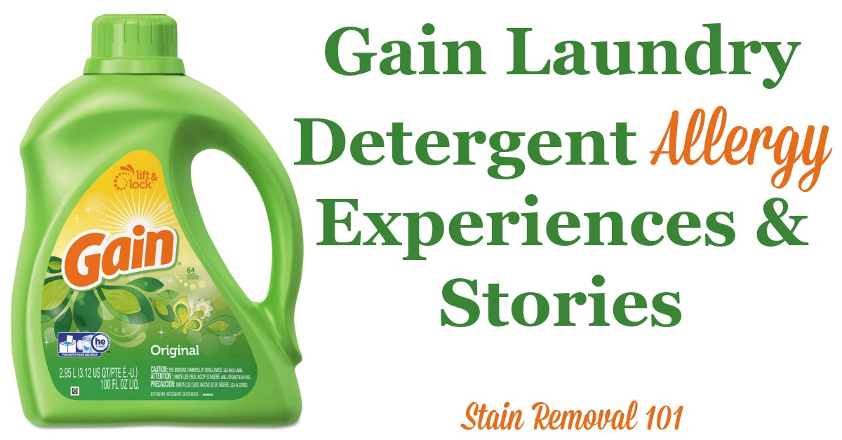 Gain laundry detergent allergy experiences and stories shared by readers {on Stain Removal 101}