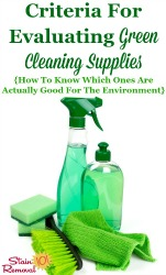 Criteria For Evaluating Green Cleaning Supplies