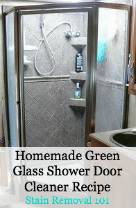 homemade green glass shower door cleaner recipe