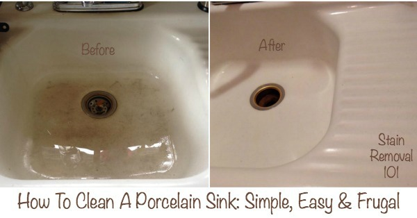 How to clean a porcelain sink, with before, during and after pictures for this very simple trick! {on Stain Removal 101}