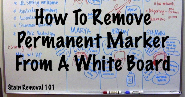 Simple and easy trick for how to remove permanent marker from a white board {on Stain Removal 101} #CleaningTips #CleaningHacks #WhiteBoards