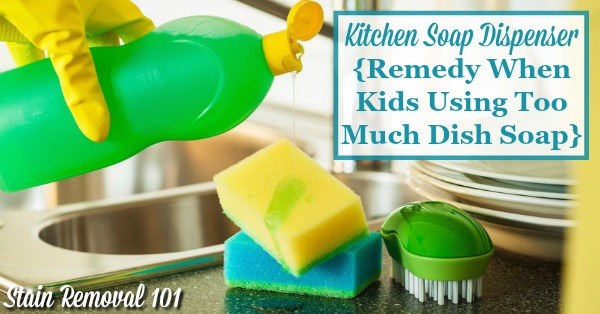 Here's an idea for how to fix the problem of kids using too much dish soap when asked to help wash dishes as one of their chores, by using a kitchen soap dispenser {on Stain Removal 101}