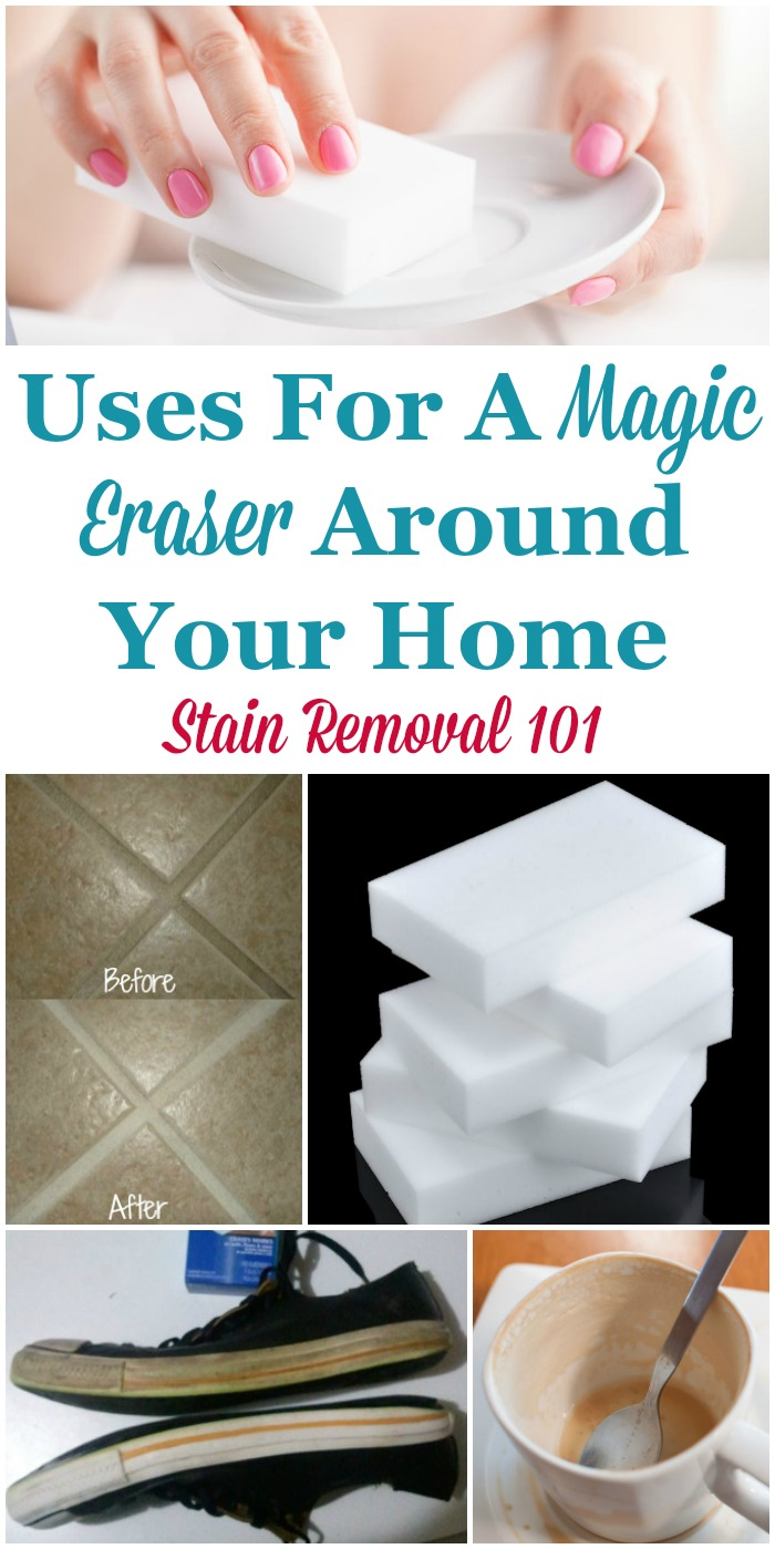 Lots of Magic Eraser uses around your home, for cleaning, removing marks and tough to remove stains from a wide variety of hard surfaces {on Stain Removal 101} #MagicEraser #MrCleanMagicEraser #CleaningTips