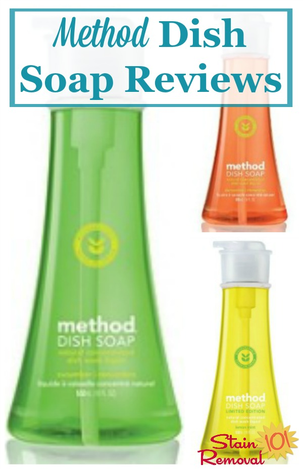 Here are reviews of Method dish soap, in various scents, sharing how it works and also about how the pump dispenser works for them {on Stain Removal 101} #MethodDishSoap #MethodCleaningProducts #NaturalDishSoap