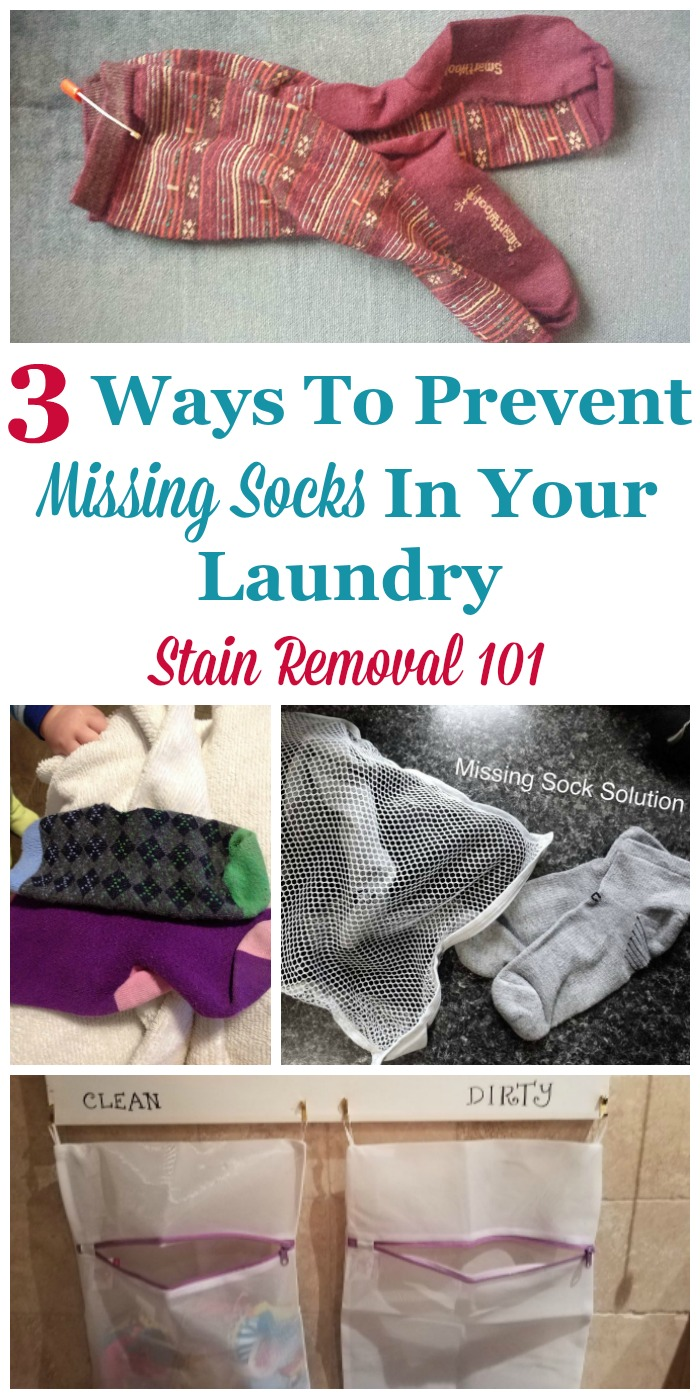 3 ways to prevent missing socks in your laundry, so as you wash clothes you don't have lost or mis-matched socks {on Stain Removal 101} #LaundryTips #LaundryOrganization #Laundry