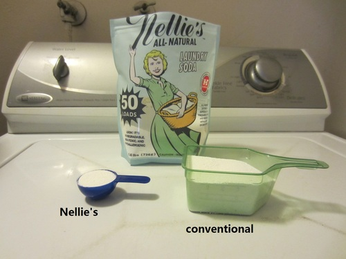 comparing Nellie's All Natural Laundry Soda to other detergent