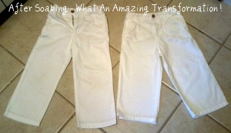 pants stain after stain removal treatment