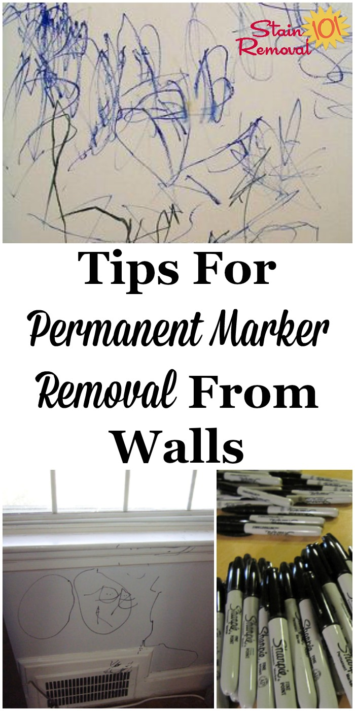 Tips for permanent marker removal from walls, including both home remedies and commercial products you can use when disaster strikes! {on Stain Removal 101} #PermanentMarkerRemoval #RemovePermanentMarker #PermanentMarkerStains