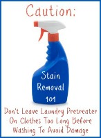 caution when using laundry pretreater