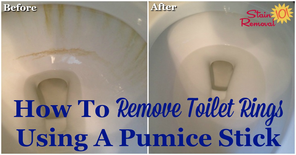 How to remove toilet rings using a pumice stick, and why you should too. It's frugal, eco-friendly and it works! {on Stain Removal 101} #PumiceStick #PumiceStone #CleanToilet