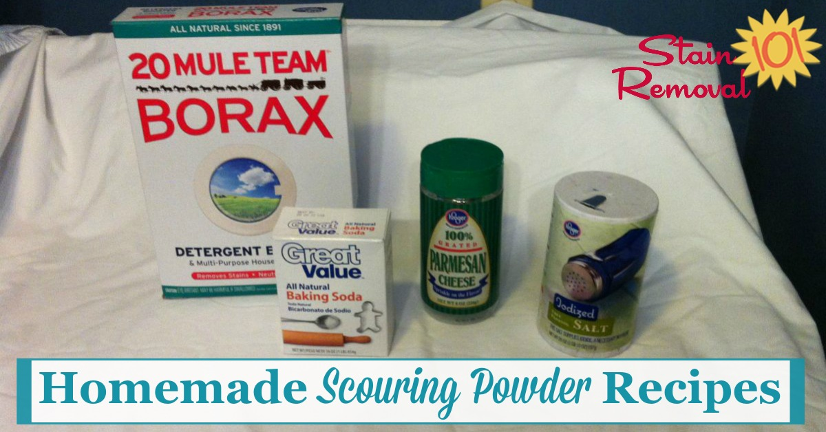Several homemade scouring powder recipes for a good scrubbing and cleaning, from items you most likely already have at home {on Stain Removal 101}