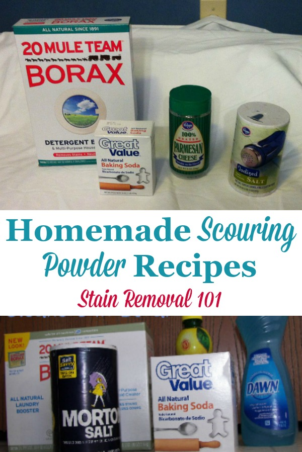 Several homemade scouring powder recipes for a good scrubbing and cleaning, from items you most likely already have at home {on Stain Removal 101} #HomemadeScouringPowder #ScouringPowder #HomemadeCleaners