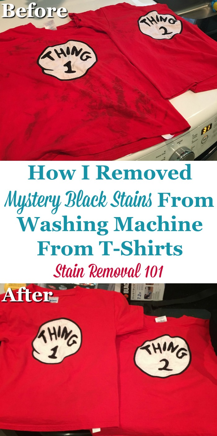 Black mystery stains caused by washer, and how they were removed from t-shirts, plus lots of other tips for removing a variety of washing machine stains {on Stain Removal 101} #StainRemoval #Laundry #LaundryTips
