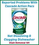 problems with Cascade Action Pacs dishwasher detergent
