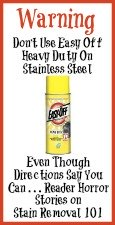 warning about Easy Off use on stainless steel surfaces