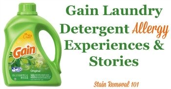 Gain laundry detergent allergy experiences and stories
