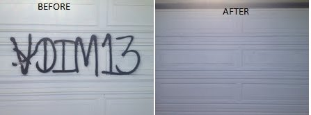 graffiti on garage door, before and afteri