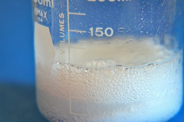 Reaction of baking soda and vinegar, when combined